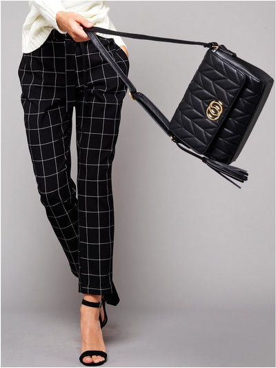 Petite grid check trousers