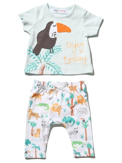 Minoti animal top and jogger set (0 mths - 1 yr)
