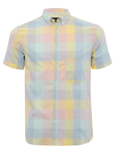 Dstruct rainbow check short sleeve shirt