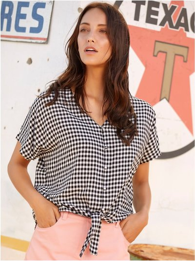 Gingham check tie front shirt