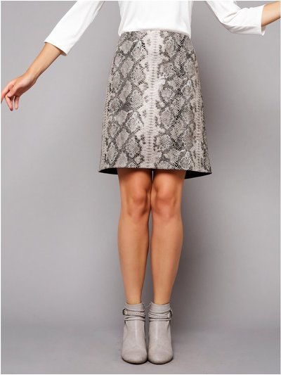 Petite faux leather snake print skirt