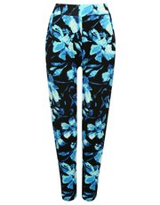 Floral rose print tapered beach trousers