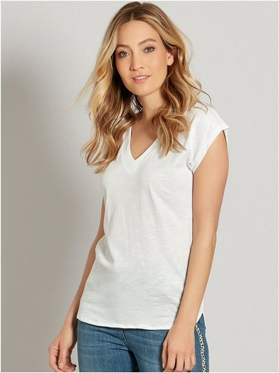 V-neck cap sleeve t-shirt