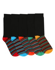 Striped sole socks five pair pack