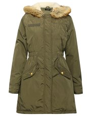 Hooded khaki parka coat
