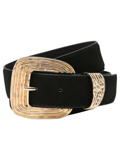 Textured buckle suedette belt