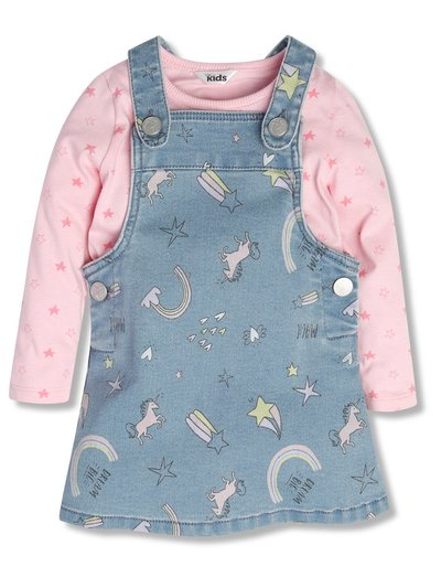 Printed pinafore dress with tee (9mths-5yrs)