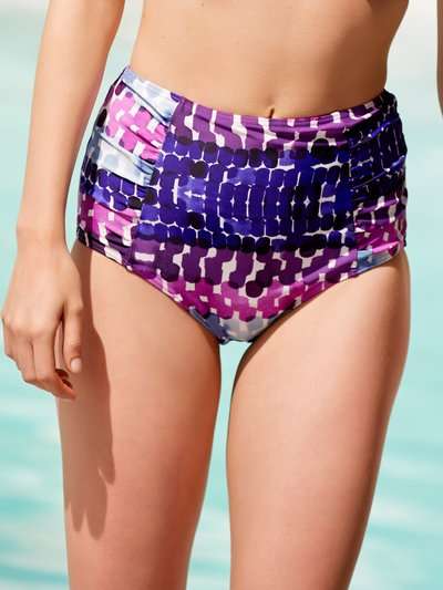 Smudge print high waist control bikini bottoms