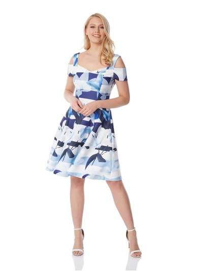 Roman Originals floral stripe fit and flare dress