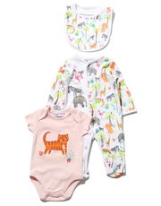 Minoti tiger bodysuit sleepsuit and bib set