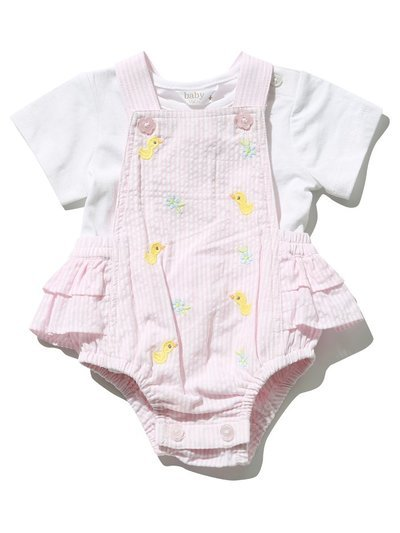 Duck embroidered bibshort and top set