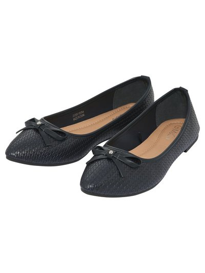 Fran bow trim ballerina shoes