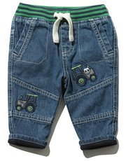 Tractor embroidered jeans