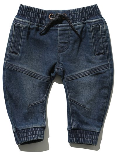 Stretch waist cuffed jeans