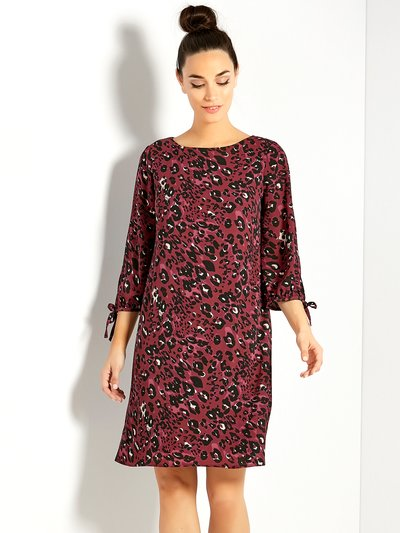Leopard print tie sleeve shift dress