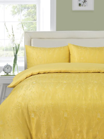 Yellow floral jacquard duvet set