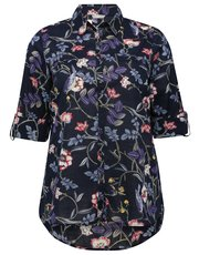 Plus floral bird print shirt