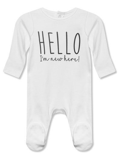 Hello I'm New Here sleepsuit (0-12mths)
