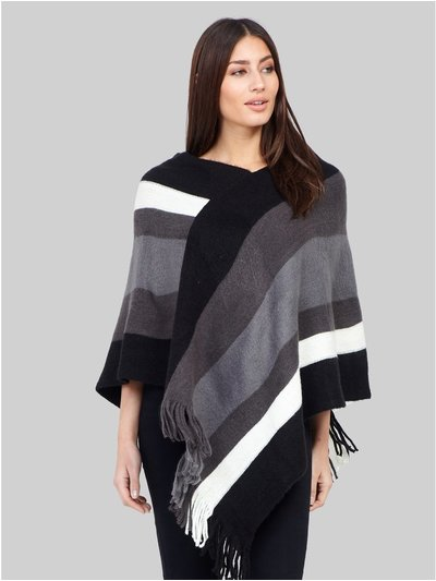 Izabel striped tassel trim poncho