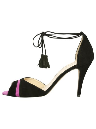 Leather tassel tie ankle heels