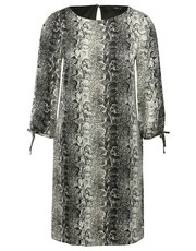 Snake print tie sleeve shift dress