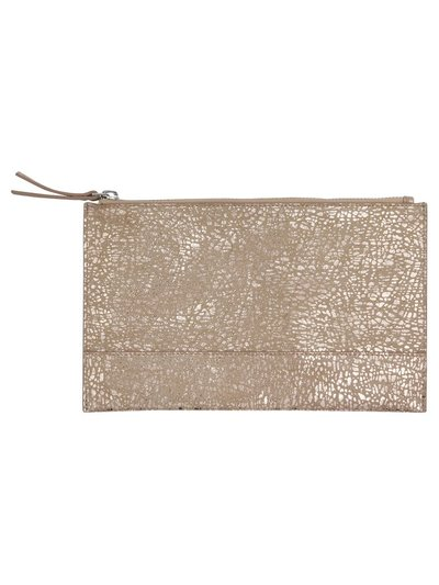 Foil animal print leather clutch