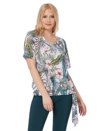Roman Originals tropical print burnout top