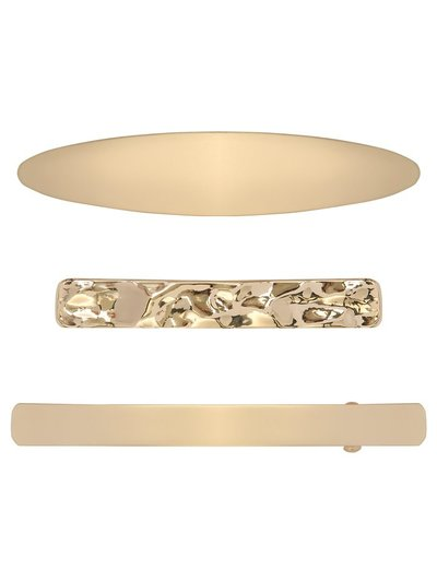 Gold metal hair clips three pack