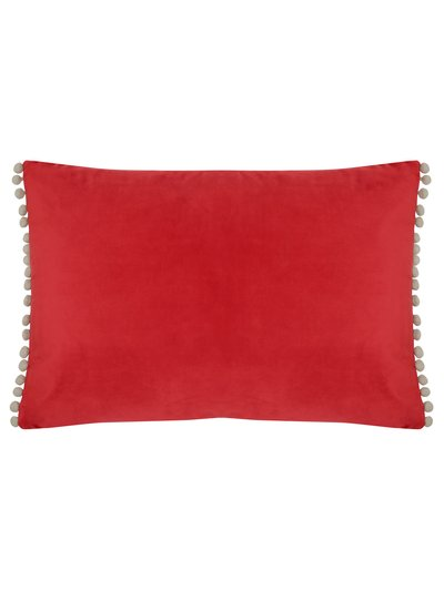 Pompom trim velour cushion
