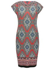Tile print border tunic dress