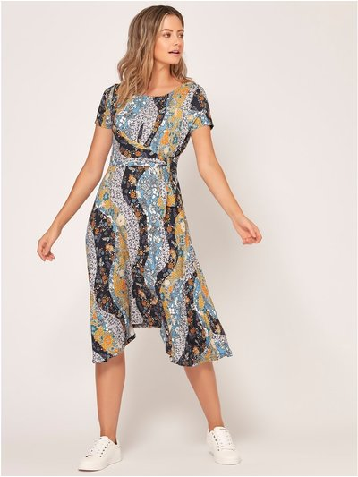 Petite floral mix print hanky hem dress