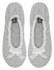 Stripe ballerina slippers