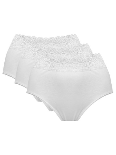 Lace trim pure cotton full briefs three pack