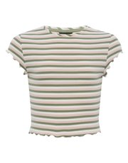Teens' striped frill crop t-shirt