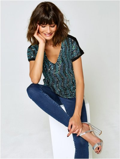 Sequin v neck top