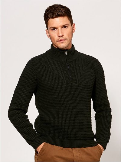 Zip neck textured knit jumper
