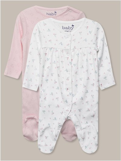 Pointelle sleepsuits two pack (0-18mths)