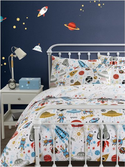 Brushed cotton astronaut cat duvet set