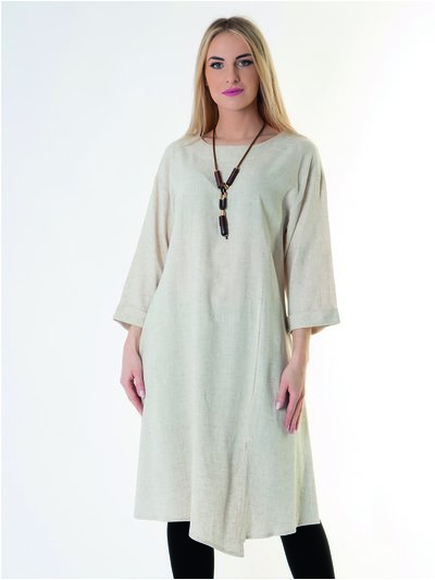 Saloos Sand Linen Dress & Necklace