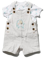 Elephant dungarees and top set