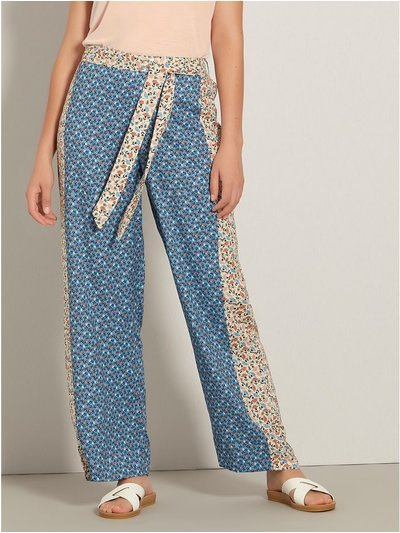 Floral mix print wide leg trousers