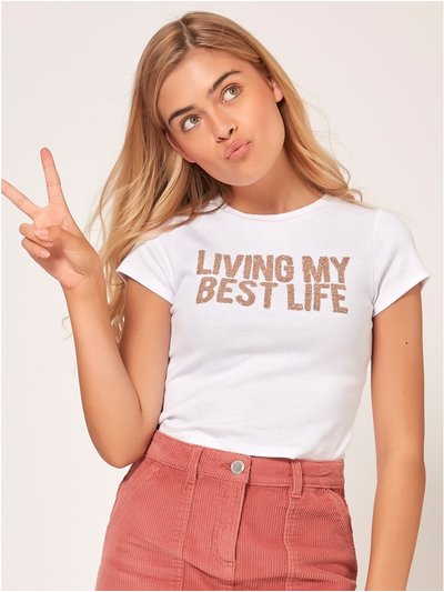 Teen living my best life slogan t-shirt