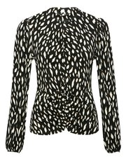Long sleeve ruched front print top