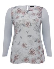 Plus floral dragonfly print top