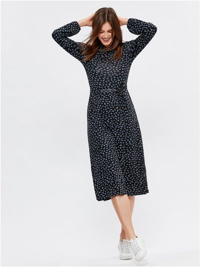 Ditsy pie crust collar midi dress