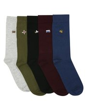 Mountain embroidered socks five pack