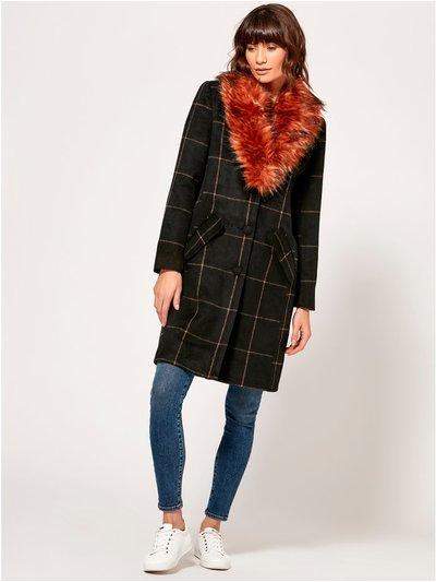 VILA faux fur collar check coat