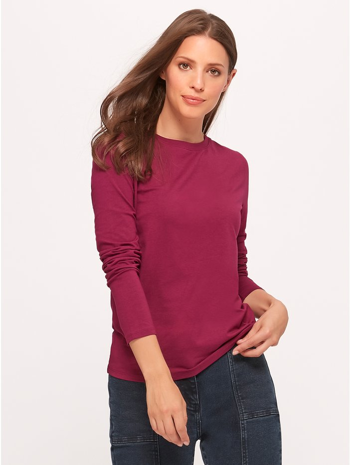 Plain crew neck long sleeve top