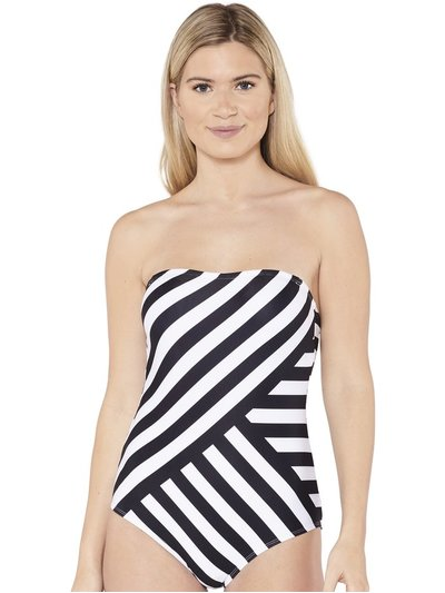 Beachcomber stripe bandeau printed swimsuit