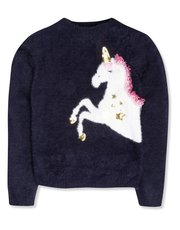 Fluffy unicorn jumper (3-12yrs)